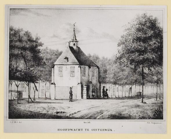 073329 - Hoofdwacht te Oisterwijk. Zicht op de achterzijde van het raadhuis. Zie ook fotonummer 073328.