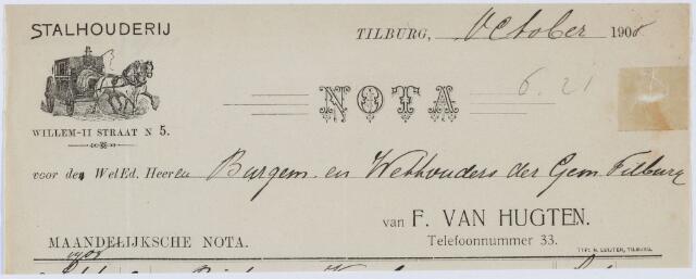 060334 - Briefhoofd. Nota van Stalhouderij F. van Hugten, Willem-II-straat 1494, voor de gemeente Tilburg