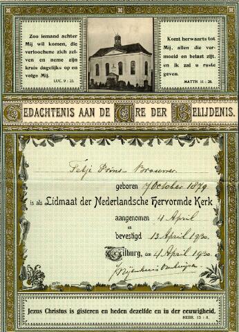 071463 - Religie. Herinnering aan de belijdenis van Tetje Prins-Brouwer als lidmaat van de Nederlands Hervormde Kerk te Tilburg. Bovenaan in het midden een foto van de Pauluskerk aan de Zomerstraat.