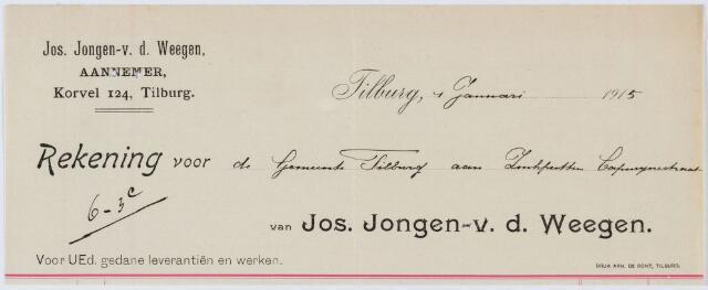 060412 - Briefhoofd. Nota van Jos. Jongen-v.d. Weegen aannemer, Korvelsche weg 124 voor de gemeente Tilburg