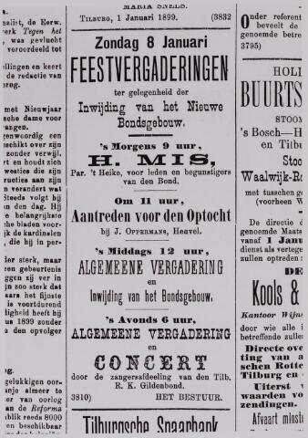 040983 - Vakbeweging. Aankondiging in T.C.dd 8-1-1899, feestvergadering t.g.v. inwijding nieuw bondsgebouw r.k. gildenbond.