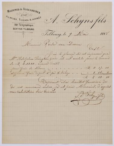 061089 - Briefhoofd. Nota van A. Schijns fils, Wilhelminapark 34 voor Pieter van Dooren