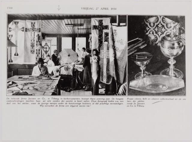 040206 - Foto ter gelegenheid van het 70 jarig bestaan van de firma Janssens & Co.  Deze firma was gespecialiseerd in kerkornamenten. Op de foto links een deel van het atelier, rechts  een fraaie ciborie, kelk en collecteschaal uit het atelier van de jubilerende firma.