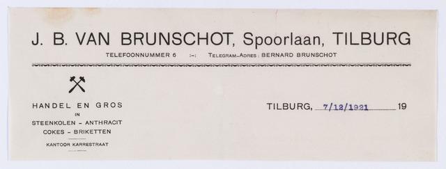 059799 - Briefhoofd. Briefhoofd  van J. B. van Brunschot, Spoorlaan , Handel en Gros in Steenkolen- Anthracit enz.