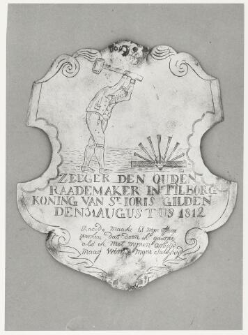 067032 - Schuttersgilden. Gilde Sint Joris. Koningsschild van Zeger den Ouden gedoopt Berkel 1771, overleden Tilburg 11 maart 1855. Rademaker,