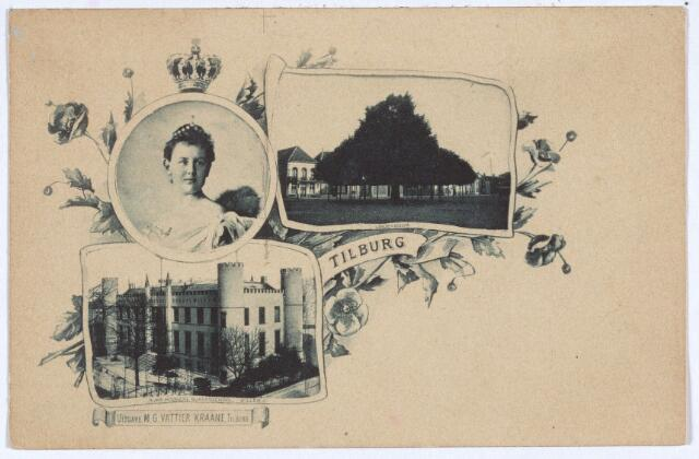 003106 - Links boven koningin Wilhelmina, daarnaast de lindeboom op de Heuvel en onder de 'Rijks Hoogere Burgerschool Willem II', later paleis-raadhuis.