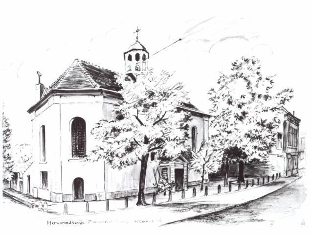021868 - Tekening. Tekening van H. Corvers uit 1972 van de Nederlands Hervormde kerk aan de Zomerstraat, thans Heuvelstraat