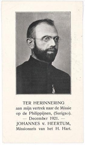 005175 - Bidprentje. Johannes van HEERTUM, missionaris van het H. Hart (M.S.C.) vertrok in december 1921 naar de Missie op de Philippijnen (Suriago).
