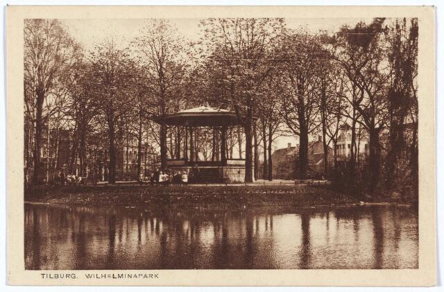 002891 - Wilhelminapark, vijver en muziekkiosk.