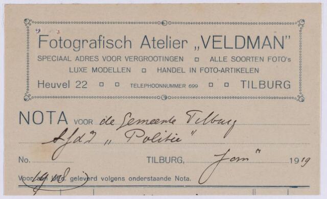 """061286 - Briefhoofd. Nota van Fotografisch atelier """" Veldman"""" , Heuvel 22 voor de gemeente Tilburg"""