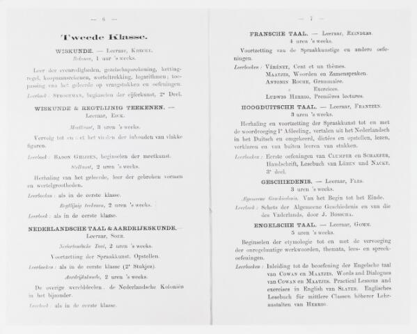 051656 - Onderwijs. Rijks H.B.S. Willem ll . Urenverdeling van de Rijks Hoogere Burgerschool Willem II tweede klasse schooljaar 1867/1868.