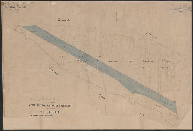 652652 - Wegenlegger. Kaart van de openbare wegen, voetpaden, straten, stegen, etc. Tilburg, Sectie F (Haansche Hoeven), blad 4. Schaal 1:2500. Ongedateerd.