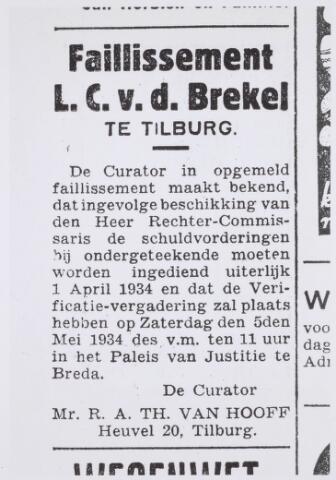 020821 - Advertentie uit de Nieuwe Tilburgsche Courant van 27 februari 1934 waarin het faillissement van Louis van de Brekel bekend werd gemaakt. Vier jaar later kwam Van de Brekel te overlijden