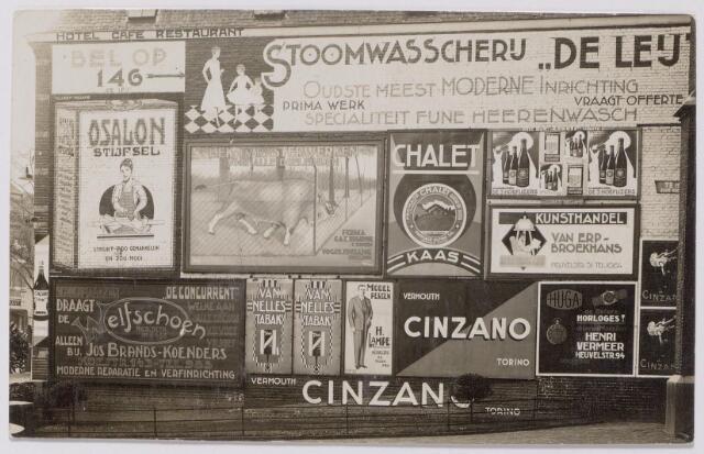 043954 - Straatwand aan de Heuvel met reclame voor 'Stoomwasscherij de Leij', kunsthandel Van Erp-Broekhans, juwelier Henri Vermeer en de schoenwinkel van Brands-Koenders aan de Koestraat.