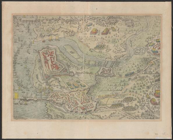 651014 - Belegering van Geertruidenberg in 1593 plattegrond van de vesting met omgeving met strijdende legers, vloot, verdedigingswerken en vluchtende burgers op het land. Alles in vogelperspectief. Geertrudenberga en cijfers 1-14. Ca 1620. Gravure. Uit Nassawischen Lorbern-Cranz, p. 97-98. Muller suppl. 1021, nagenoeg vergroting van inv. nrs. 16 en 17. Aangekocht 1963 bij Borzo Den Bosch handgekleurd. 23 x 32,5 cm.