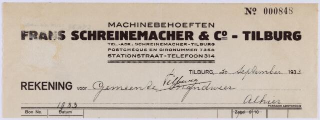 061084 - Briefhoofd. Nota van Frans Schreinemacher & Co, machinebehoeften, Stationstraat 27 voor de gemeente Tilburg
