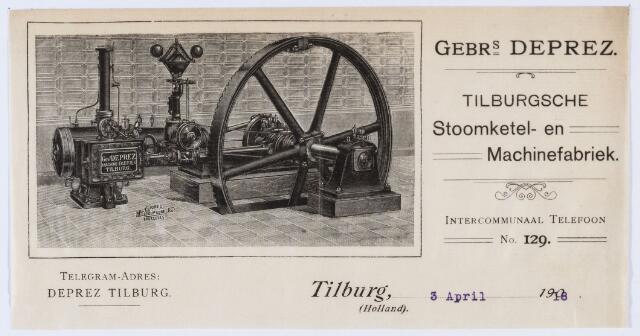 059902 - Briefhoofd. Briefhoofd van Gebrs. Deprez, Tilburgsche Stoomketel- en Machinefabriek