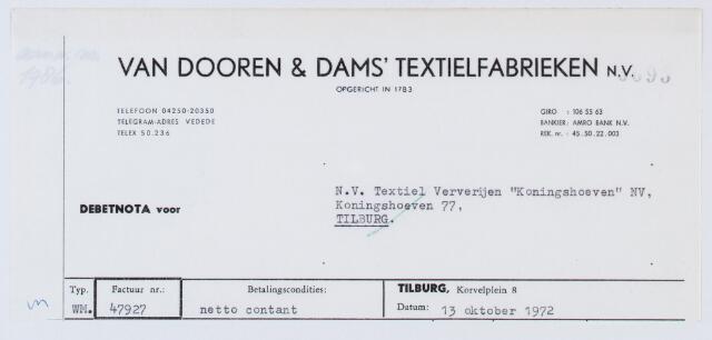 """059971 - Briefhoofd. Nota van Van Dooren & Dams Textielfabrieken N.V., voor N.V. Textiel Ververijen """"Koningshoeven"""" NV , Koningshoeven 77"""