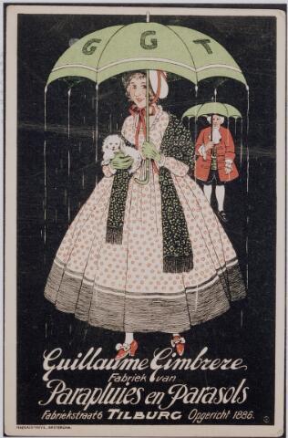 040194 - Reclamekaart uit 1921 van de paraplu- en parasolwinkel Guillaume Gimbrere.