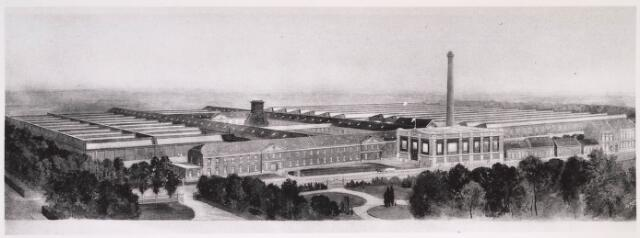 023311 - Tekening. Textiel. Het enorme complex van wollenstoffenfabriek Van den Bergh - Krabbendam in 1913 aan de voorzijde, met bij de schoorsteen de machinekamer