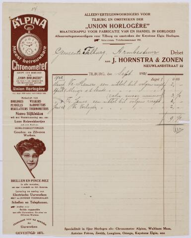 060324 - Briefhoofd. Nota van J. Hornstra, & Zonen, magazijn van horloges enz., Nieuwlandstraat 22  voor de gemeente Tilburg, Armbestuur