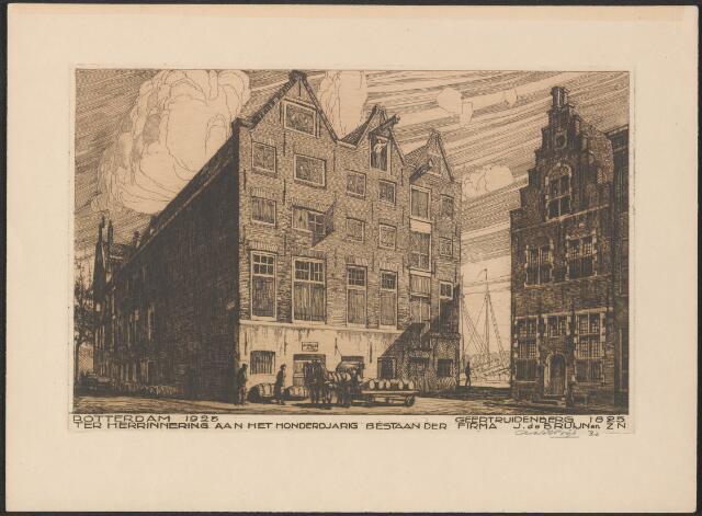 651027 - De vestigingen van de Fa J de Bruijn en Zn te Geertruidenberg (huis de Roos) en te Rotterdam (als dichterlijke vrijheid op een prent bijeen gebracht). Rotterdam 1925 – Geertruidenberg 1825. Ter herinnering aan het honderdjarig bestaan der Firma J de Bruijn en Zn. 1925. Sepiatekening. Schenking 1975 door mevr de Bruijn te Rotterdam. 21 x 31 cm.