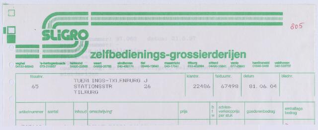 061096 - Briefhoofd. Nota van Zelfbedienings-grossierderijen Sligro voor J. Tuerlings- Kleinburg, Stationsstraat 26