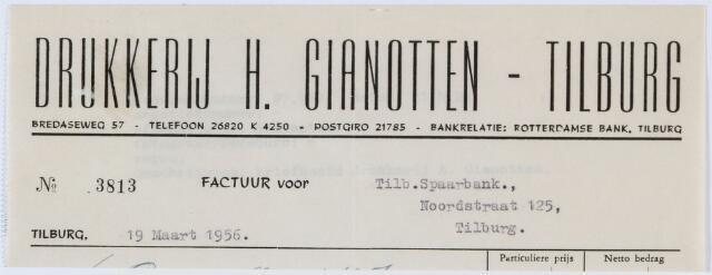 060158 - Briefhoofd. Nota van Drukkerij H. Gianotten-Tilburg, Bredaseweg 57, voor Tilburgse Spaarbank, Noordstraat 125