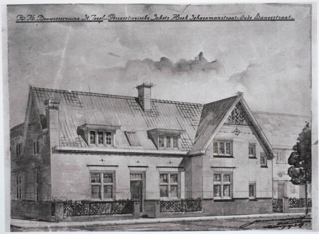 030726 - Schaepmanstraat. Opschrift: R.K. Bouwvereeniging St Joseph- Perspectievische Schets Hoek Schaepmanstraat-Oude Langstraat