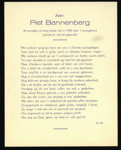 604339 - Tweede Wereldoorlog. Oorlogsslachtoffers. Bidprentje ter nagedachtenis aan Petrus J.T. Bannenberg, gesneuveld  op 20 mei 1940.