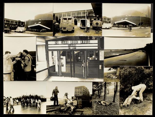 1696151 - Fotocollage Rode Kruis, afdeling Tilburg. De feestelijke opening ter ere van het 70 jaar bestaan van de Rode Kruis afdeling Tilburg in de schouwburg van Tilburg. Daarnaast wordt een grote oefening gehouden op het terrein van de Beekse Bergen in Hilvarenbeek.