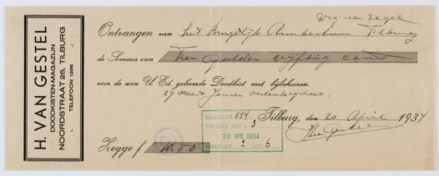 060139 - Briefhoofd. Nota van H. van Gestel, doodkisten-magazijn, Noordstraat 25 voor het Burgerlijk Armbestuur Tilburg