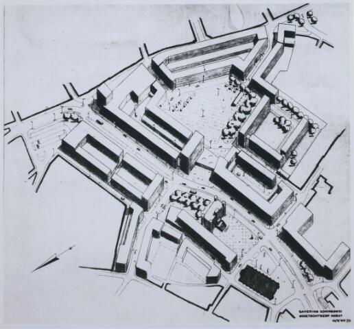 """027974 - Tekening. Stadsvernieuwing. Doorbraak- en saneringsplan """"Koningswei"""" aan de Paleisring, het sluitstuk van het binnenstadsplan."""
