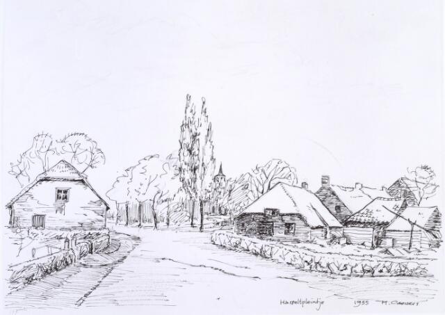 020159 - Tekening. Tekening van H. Corvers van het Hasseltplein anno 1955. Tussen de bomen de Hasseltse kapel