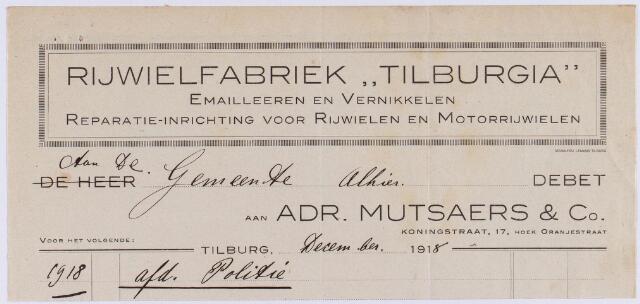 "060773 - Briefhoofd. Nota van Rijwielfabriek ""Tilburgia"" Adr. Mutsaers & Co, Koningstraat 17 hoek Oranjestraat voor de gemeente Tilburg"