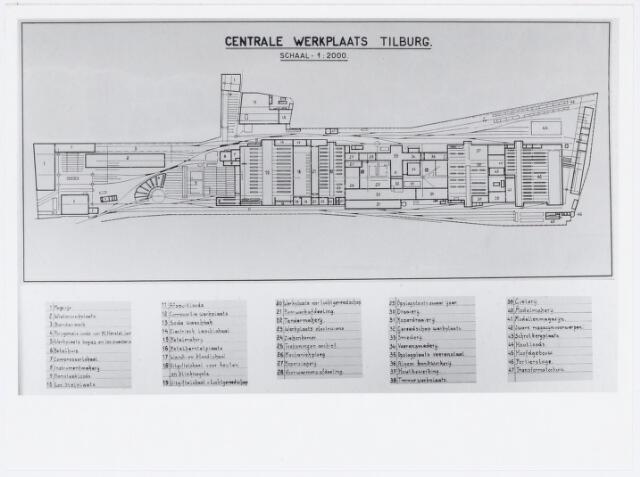 """036965 - (foto van) Plattegrond van de Centrale Werkplaats.  Spoorwegen, Centrale Werkplaats, Atelier, NS:Uit het album """"Centrale Werkplaats N.S. te Tilburg"""", opgedragen aan W. de Jong, chef bij diens afscheid op 31 december 1939"""