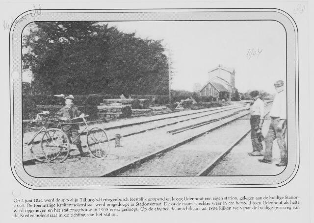 079674 - Op 2 juni 1881 werd de spoorlijn Tilburg-Den Bosch feestelijk geopend en kreeg Udenhout een eigen station.