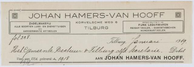 060237 - Briefhoofd. Nota van Tilburgsche Zadelmakerij Johan Hamers-van Hooff, Korvelscheweg 6, Firma A. Graafmans, voor gemeente Tilburg