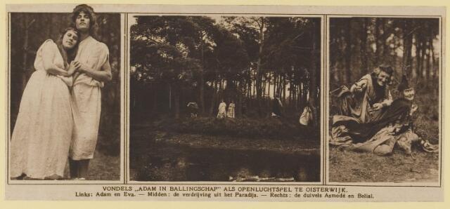 077116 - Openluchtspel te Oisterwijk op de Hondsberg te Oisterwijk in 1921, Vondels Ádam in Ballingschap'