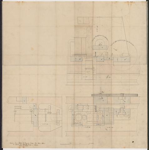 652521 - Kaart van de stoommachine van Pieter van Dooren.