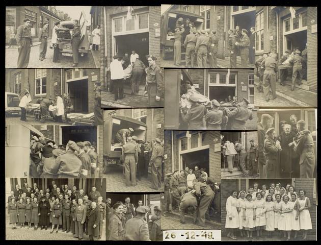 1696142 - Fotocollage Rode Kruis, afdeling Tilburg. De colonne van het Rode Kruis Tilburg organiseerde op 26 december 1949 een kerstviering voor zieken en gehandicapten. Met vrachtwagens werden bedpatiënten thuis opgehaald voor een goed verzorgde feestmiddag.