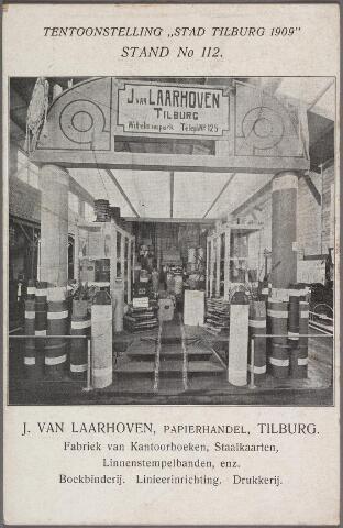 011279 - De stand van de firma J. van Laarhoven, papierhandel en drukkerij te Tilburg op de tentoonstelling Stad Tilburg 1909.