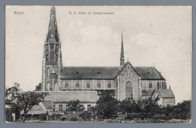 058037 - Rijen. R.K. kerk. eerste steenlegging 15 maart 1905, consecratie 29 mei 1906. Op de voorgrond R.K. meisjesschool