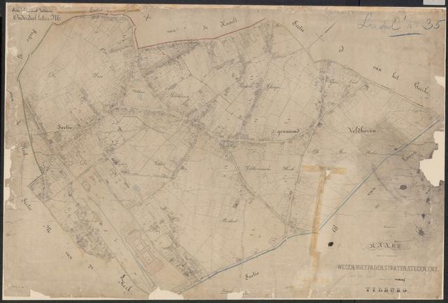652662 - Wegenlegger. Kaart van de openbare wegen, voetpaden, straten, stegen, etc. Tilburg, Sectie K (Veldhoven), blad 1. Schaal 1:2500. Ongedateerd.