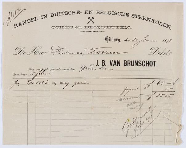 059791 - Briefhoofd. Nota van Handel in Duitsche en Belgische Steenkolen J. B. van Brunschot, voor Pieter van Dooren