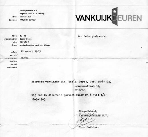 055111 - Migranten. Gastarbeiders. Verklaring van Van Kuijk Deuren dat A. Tayeb geboren 25 augustus 1937 in dienst is geweest van 25 augustus 1964 tot en met 12 maart 1965.