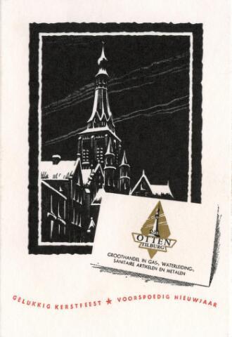 602266 - Kaart. De markt en de kerk van de H. Dionysius (Heike) afgebeeld op een nieuwjaarswens van de firma Otten, groothandel in gas- en waterleiding, sanitaire artikelen en metalen, gevestigd  in Tilburg.