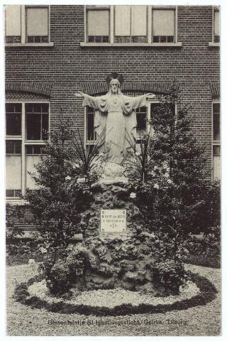 000603 - Sint Ignatiusgesticht aan de Goirkestraat. binnentuin met H. Hartbeeld. Het beeld werd geplaatst op 27 juni 1919.