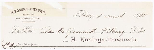 060504 - Briefhoofd. Nota van H. Konings-Theeuwis, Huis- en Decoratie-schilder.,  voor de gemeente Tilburg