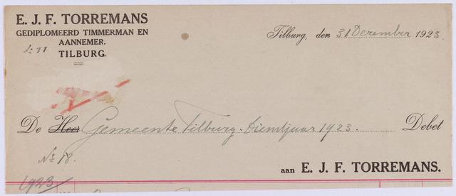 061264 - Briefhoofd. Nota van E.J.F. Torremans, gediplomeerd timmerman en aannemer voor de gemeente Tilburg